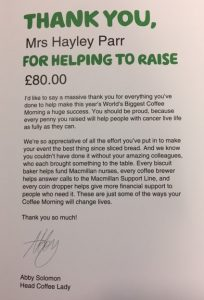 Macmillan Coffee morning thank you letter
